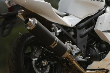 Hyosung GT650R Exhaust View