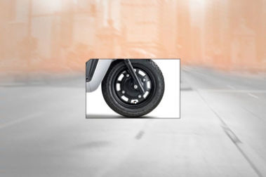 Mahindra Gusto 125 Front Tyre View