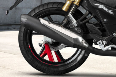 TVS Apache RTR 180 Rear Tyre View