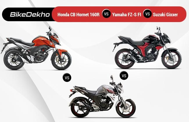 Honda CB Hornet 160R vs Yamaha FZ-S FI vs Suzuki Gixxer