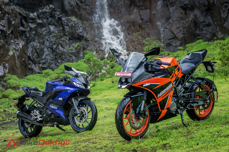 Electric Bike Review >> KTM RC 125 vs Yamaha R15 V3.0 Comparison Image Gallery | BikeDekho