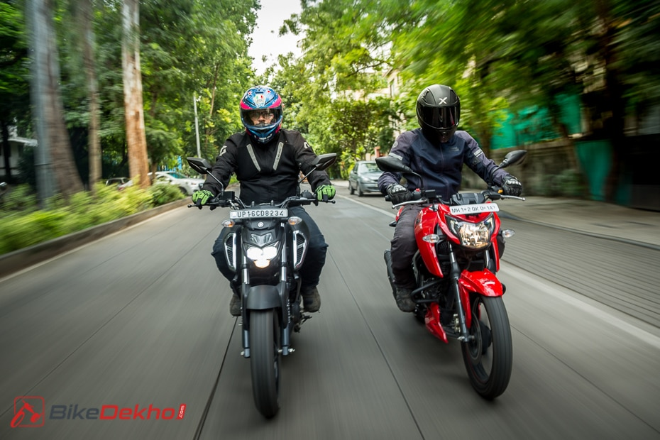 Yamaha Fzs Fi Vs Tvs Apache Rtr 160 4v Road Test Comparison