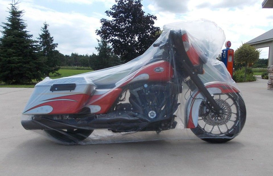 Motorcycle protected from rain