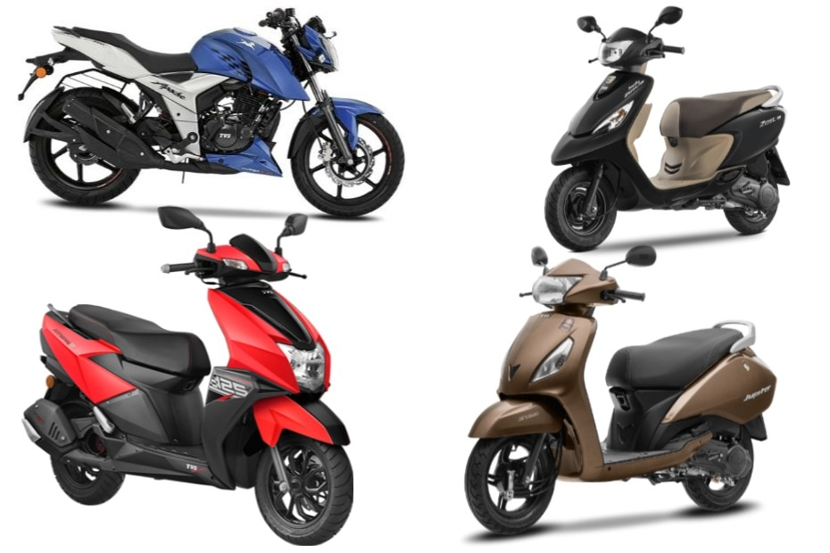Colour options for TVS two-wheelers